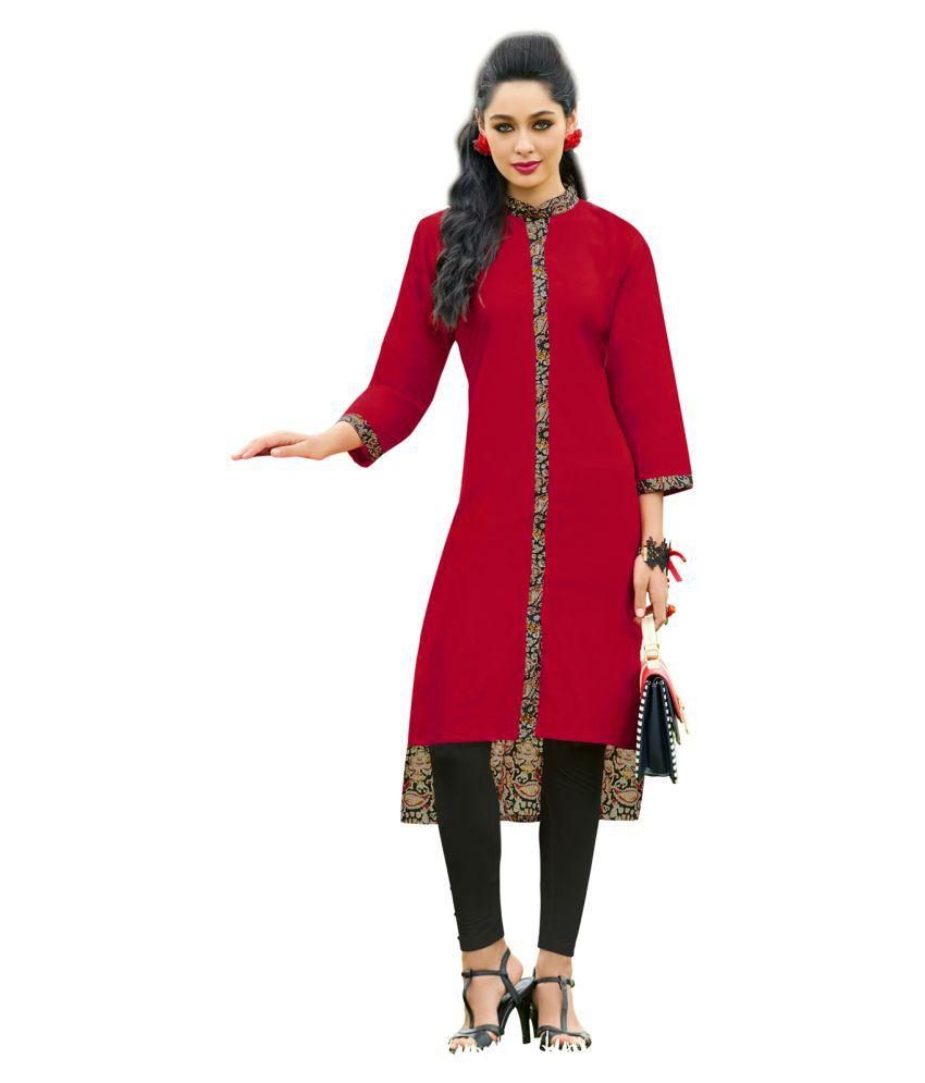 Urban India Red Rayon Straight Kurti