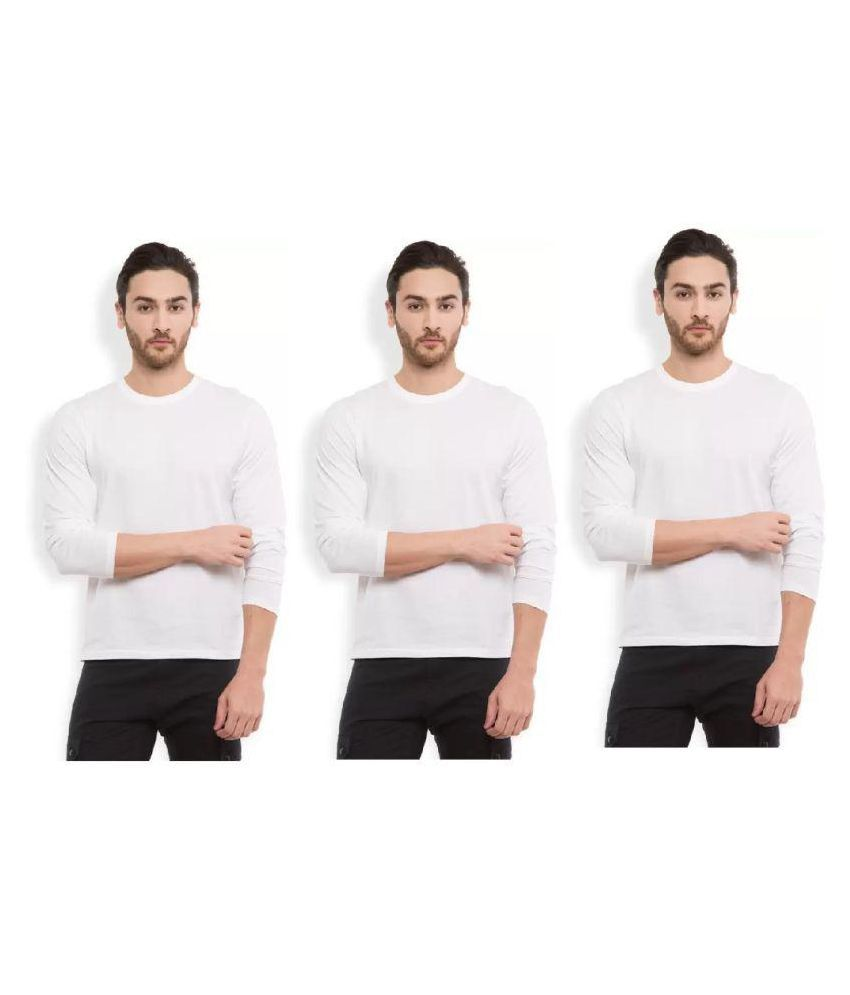 RAJBALLAVI White Round T-Shirt Pack of 3