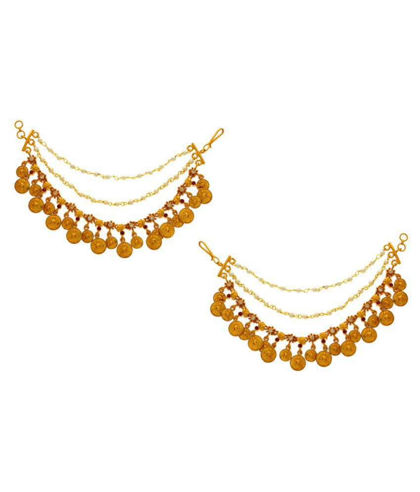 Anuradha Art Matte Golden Finish Temple Styled Fancy Designer Traditional Kan Chain/Ear Chain Earrings For Women/Girls