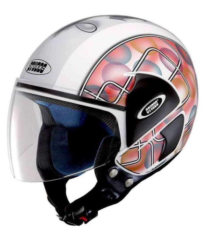 Studds cub d2 decor bubble sticker open face helmet white l buy studds cub d2 decor bubble sticker open face helmet white l online at low price in
