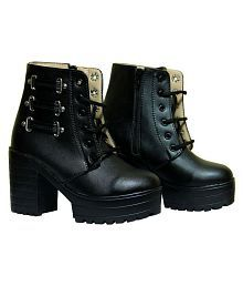 Dalliance Black Mid Calf Bootie Boots