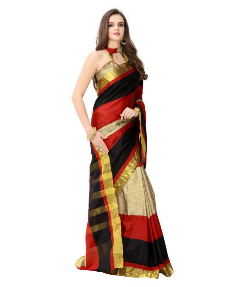 e60248ab3f4 Dressy Red and Beige Chanderi Saree - Buy Dressy Red and Beige ...