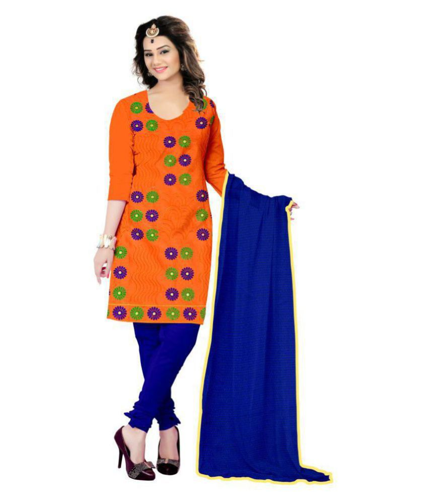 7 Brothers Orange Chanderi Dress Material