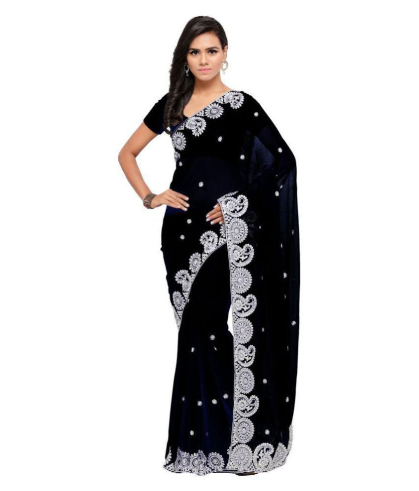 ARUNA SAREES Grey and Black Chiffon Saree