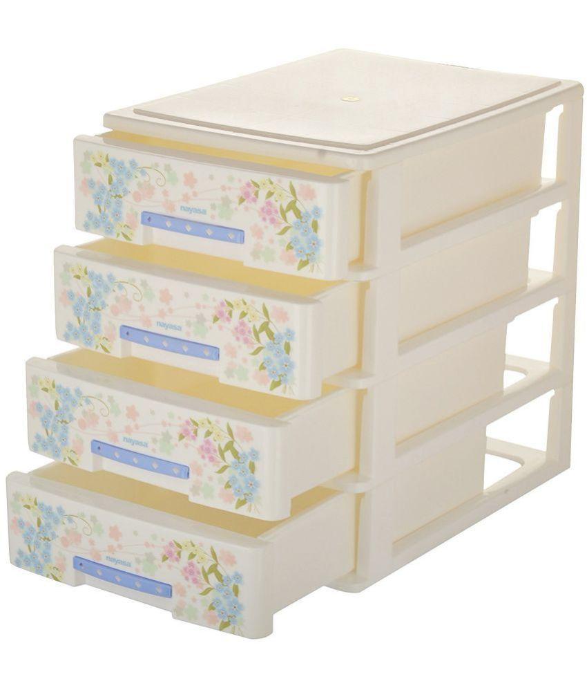 nayasa deluxe tuckins 14 plastic storage drawer 4 drawers white buy nayasa deluxe tuckins 14. Black Bedroom Furniture Sets. Home Design Ideas