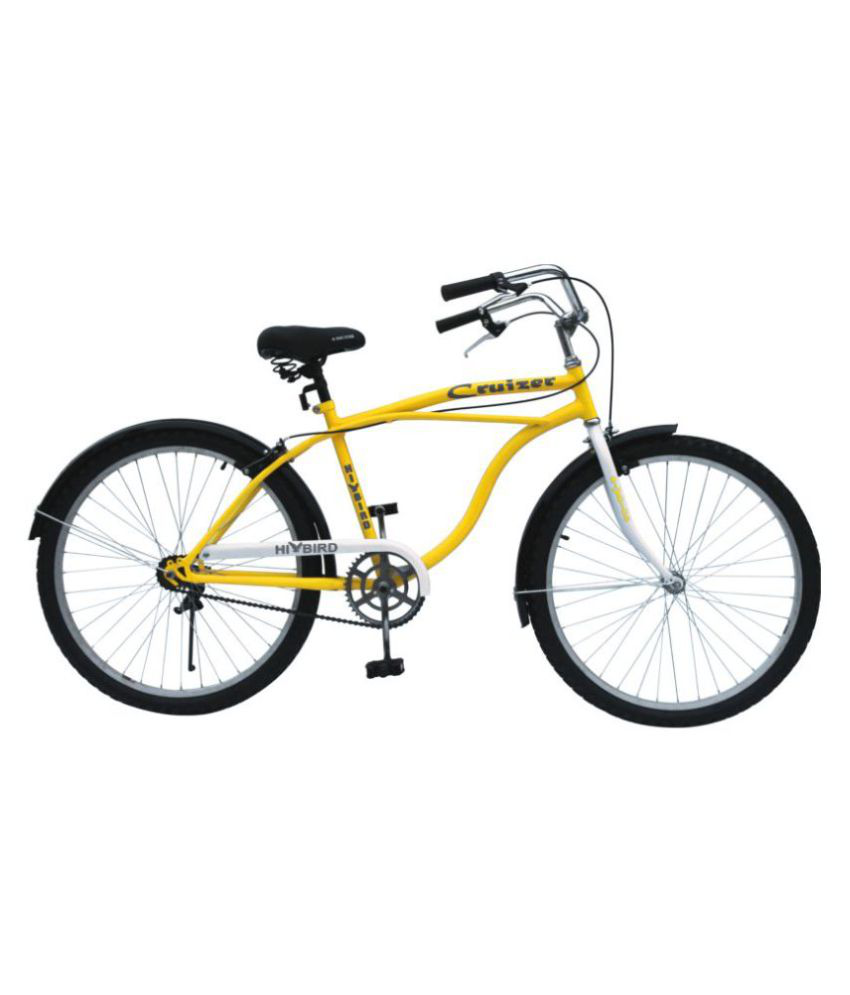 hibird beach cruiser yellow 66 04 cm 26 cruiser bike bicycle adult rh snapdeal com