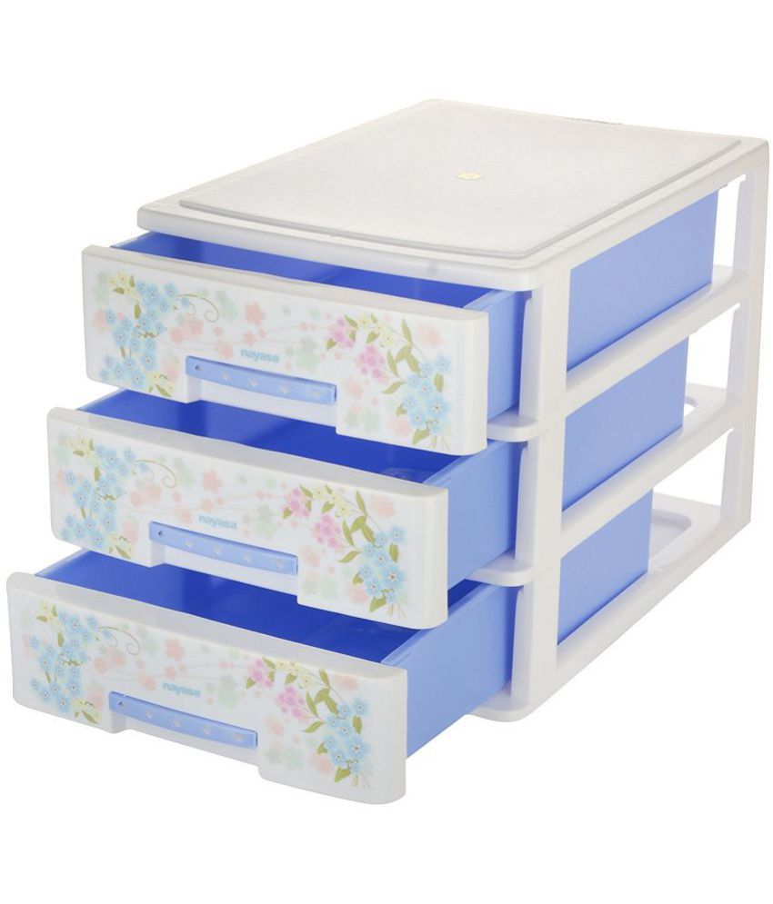 ... Blue Nayasa Deluxe Tuckins 13 Plastic Storage Drawer, 3 Drawers, Blue