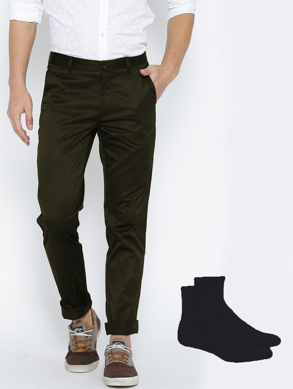 Van Galis Dark Green Regular -Fit Flat Trousers