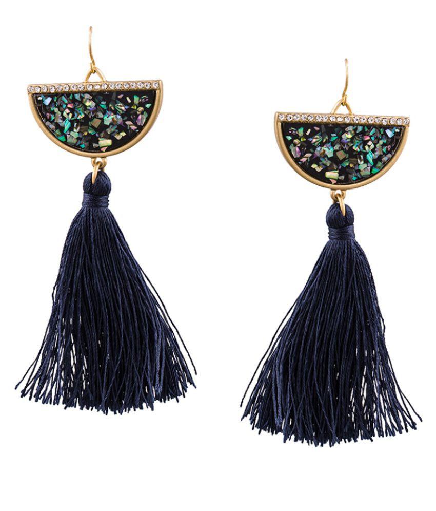 Tipsyfly Fish Hook Ear wire Blue Alloy Drop Earrings For Womens