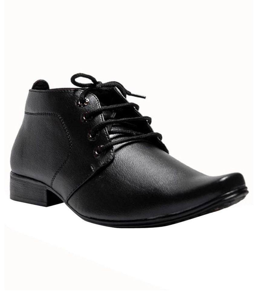 00RA Office Artificial Leather Black Formal Shoes