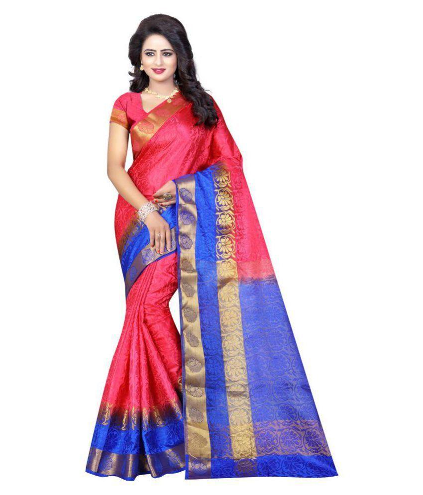 Craftliva Pink Tussar Silk Saree