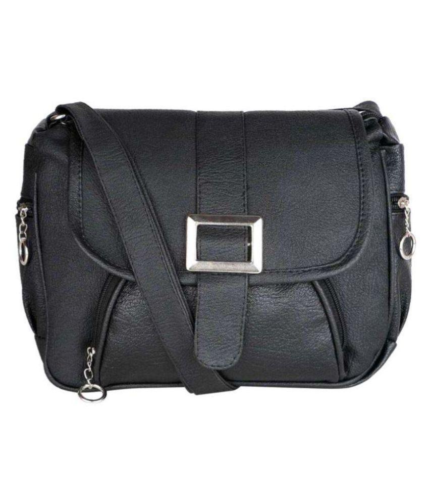 VIEW BAGS Black P.U. Sling Bag