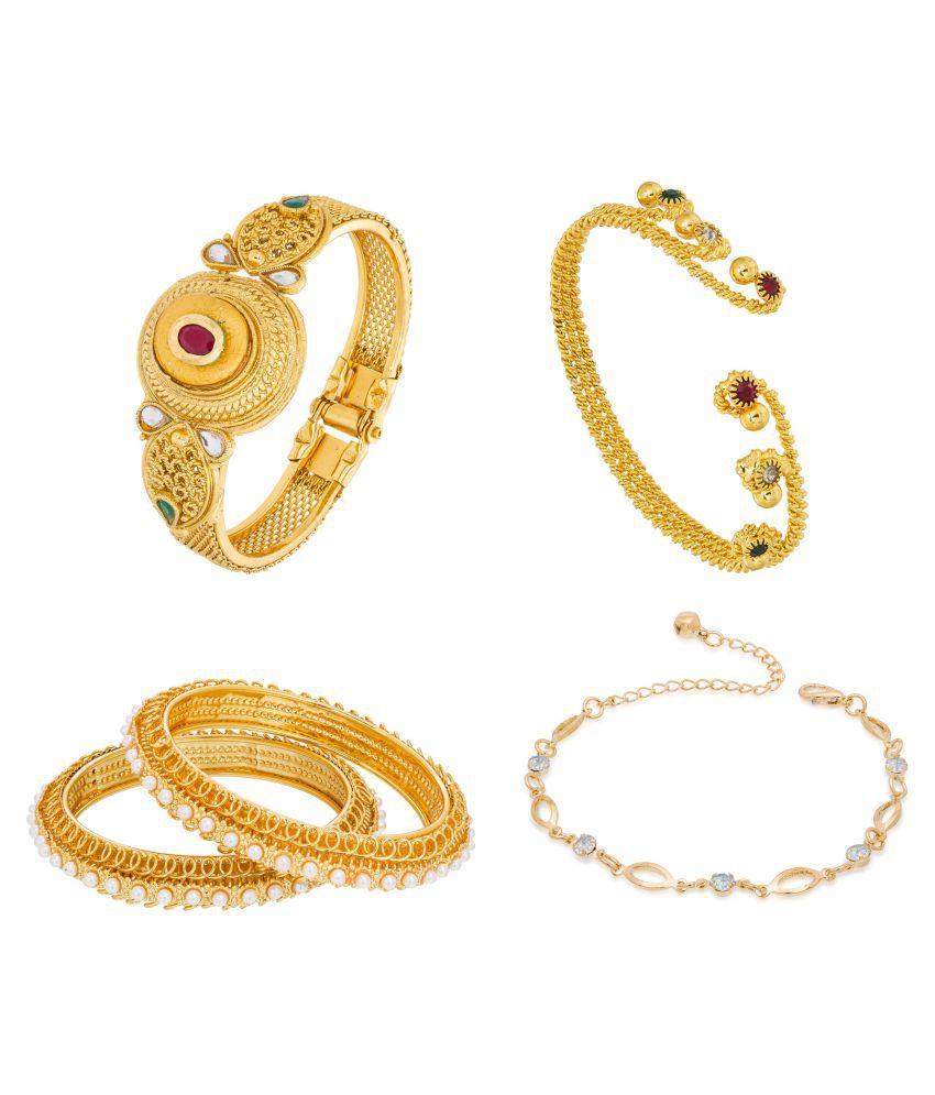 Aadita Combo Designer Gold Plated Rhinestone Bracelet Kada Pack of 5