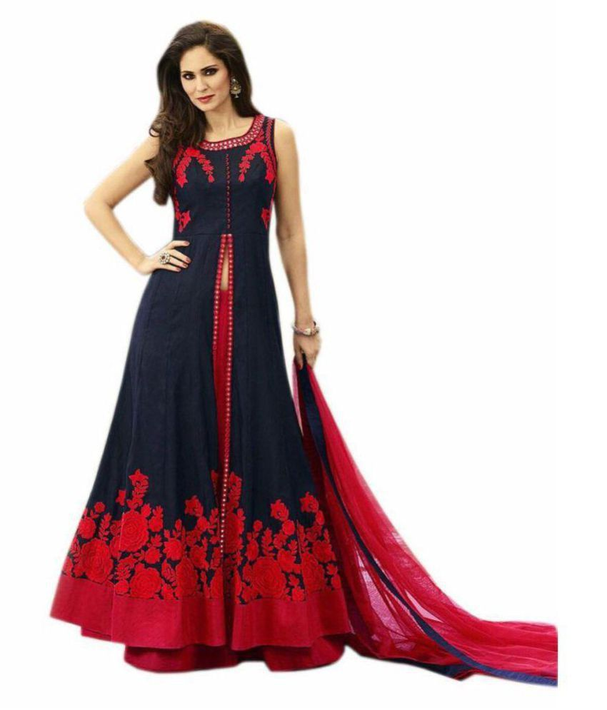 258c528a46 ... Shailaja Sarees Red and Black Bangalore Silk A-line Semi Stitched  Lehenga ...