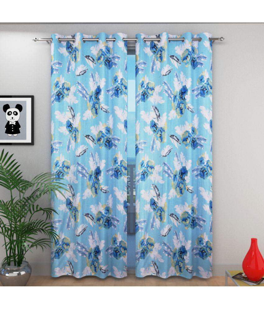 Shri Shyam Furnishing Set of 2 Window Eyelet Curtains Floral Multi Color