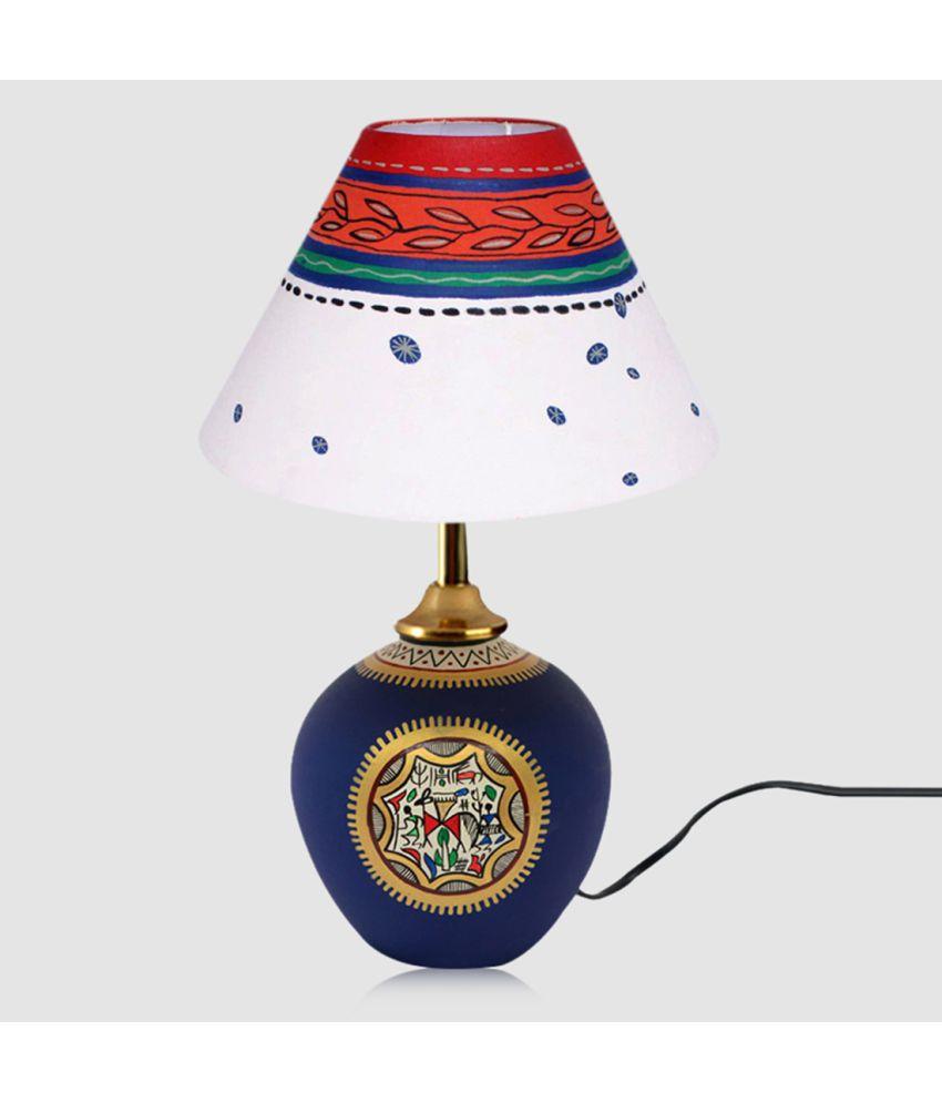 ExclusiveLane Handpainted Warli Matki Table Lamp Night Lamp Blue - Pack of 2