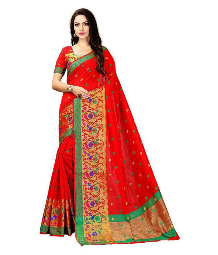 Shoppershopee Red Polycotton Saree