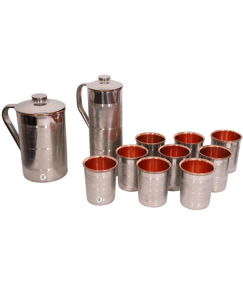 KDT Steel Copper Jug With Bottle and 9 Glass 11 Pcs Jug and Glass Combo