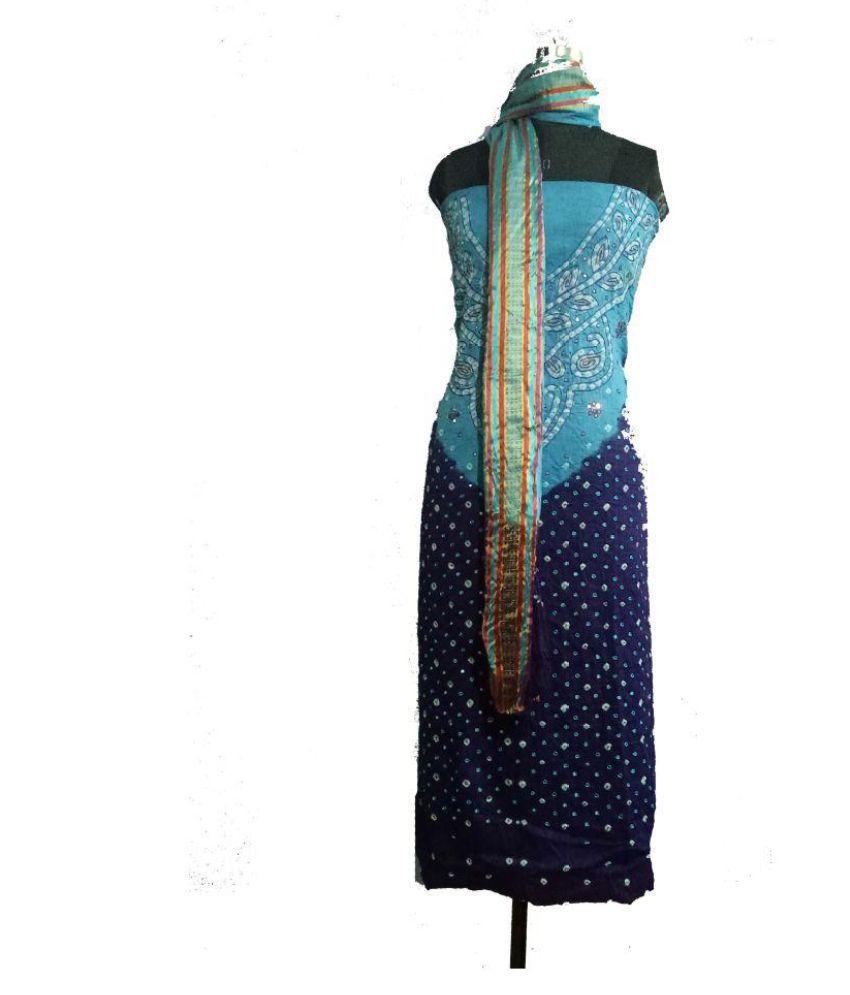 aadika Blue Cotton Silk Dress Material