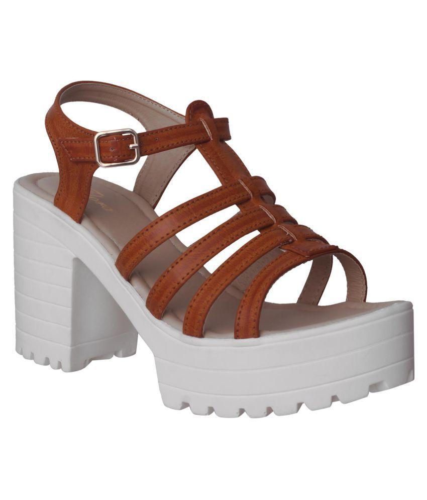 Flora Tan Block Heels