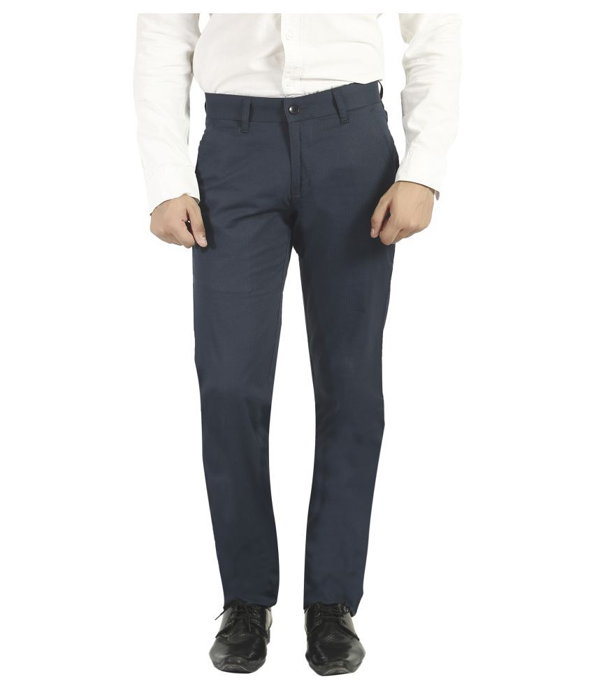 Pecos Bill Blue Slim -Fit Flat Trousers
