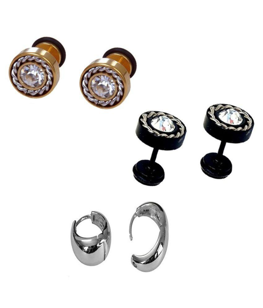 6617aa74f3460 men earring mens stud mens stud combo earring: Buy Online at Low ...