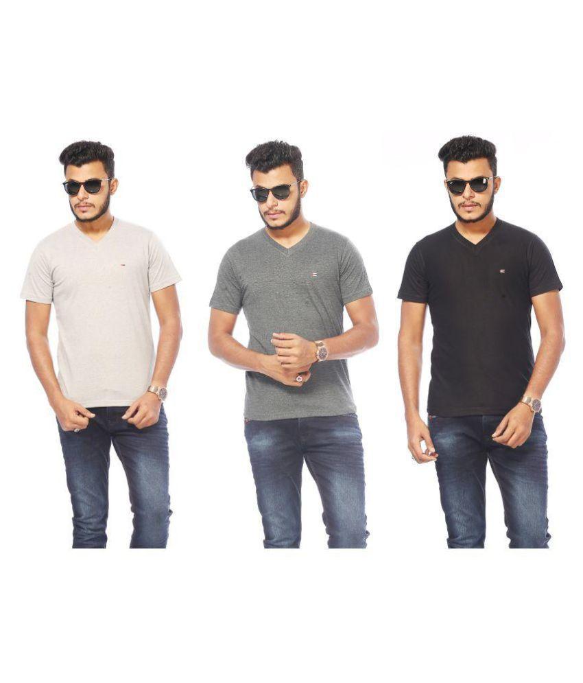 ACTIVE BASIC Multi V-Neck T-Shirt Pack of 3
