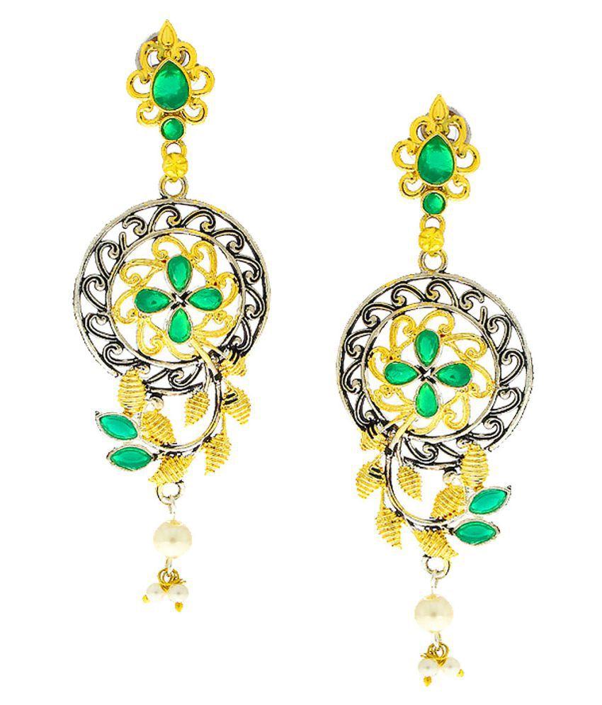 Anuradha Art Gold Finish Green Colour Very Classy Trendy Designer Oxidised Earrings For Women/Girls