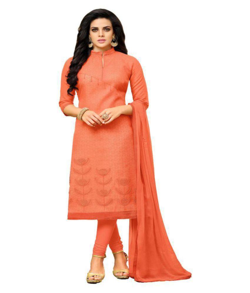MF Orange Chanderi Dress Material