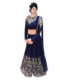 Fashion Book Blue Georgette Semi Stitched Lehenga