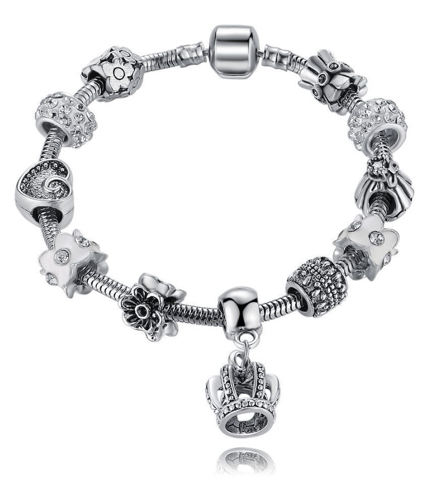 Jewels Galaxy Crystal Elements Crown Inspired Magnificent Pandora Style Floral Platinum Plated Charm Bracelet For Women/Girls