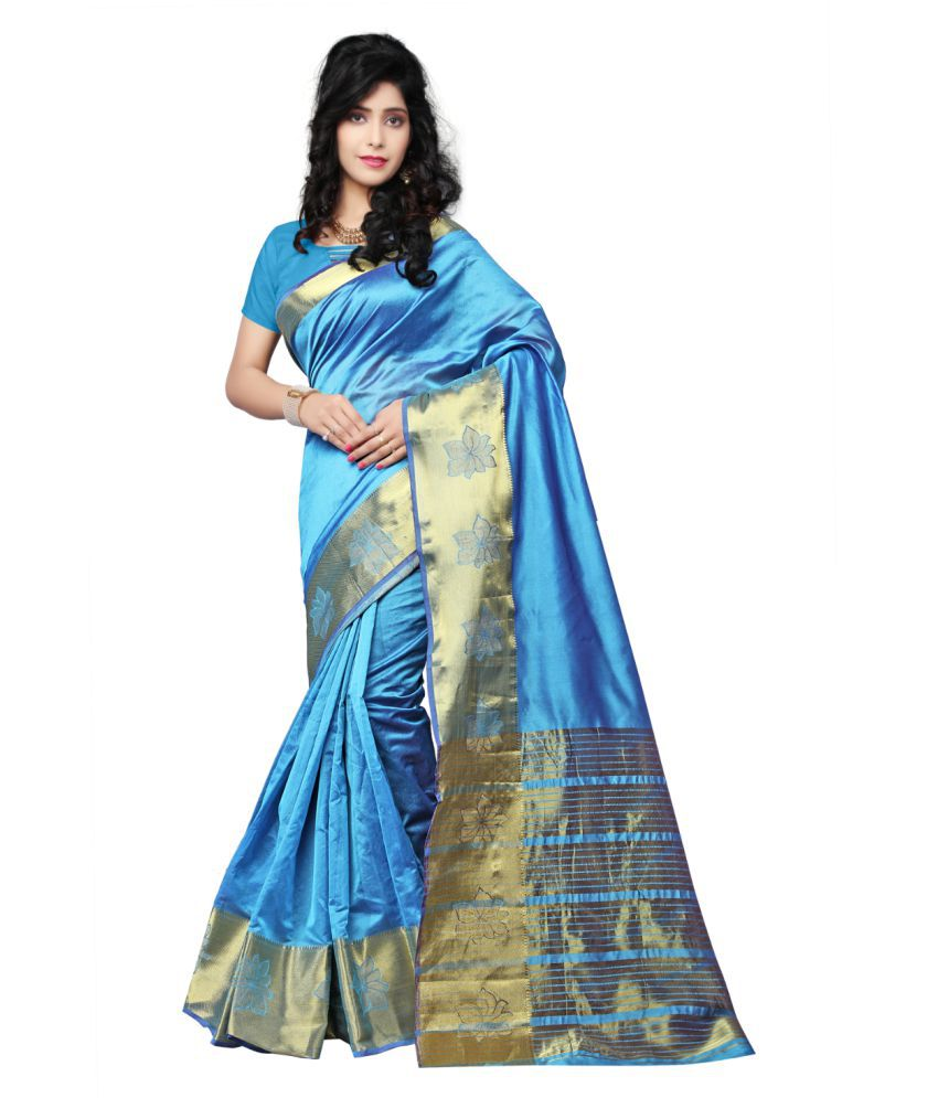 Multi Retail Blue Cotton Silk Saree