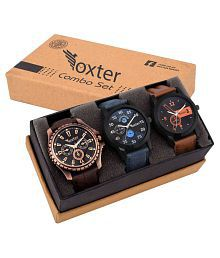 Foxter Attractive Set OF 3 Watch Combo For Men ANd Boys