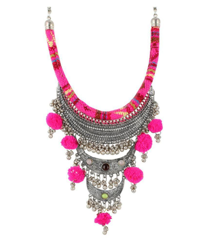 Aradhya High Finished Pink Thread Pom Pom Oxidized Silver Designer Necklace for Girls and Women