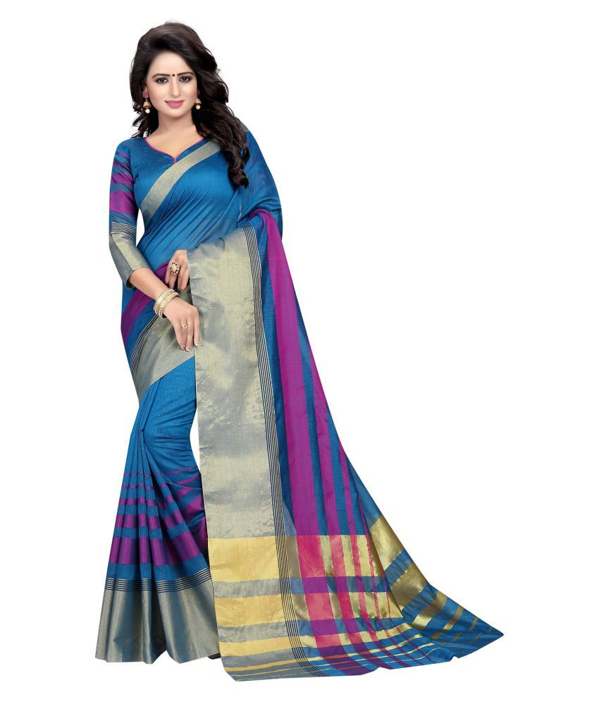 Harikrishna enterprise Blue Cotton Silk Saree