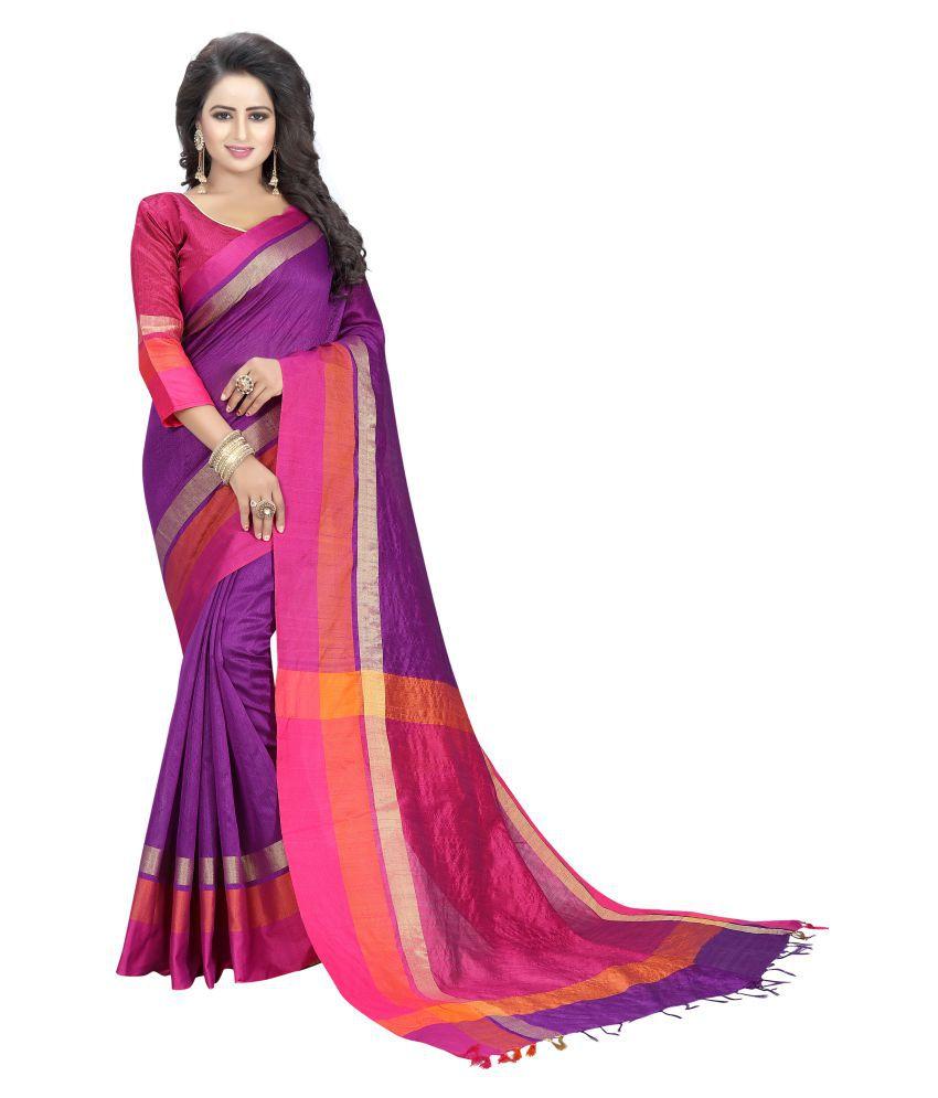 Harikrishna enterprise Purple Cotton Silk Saree