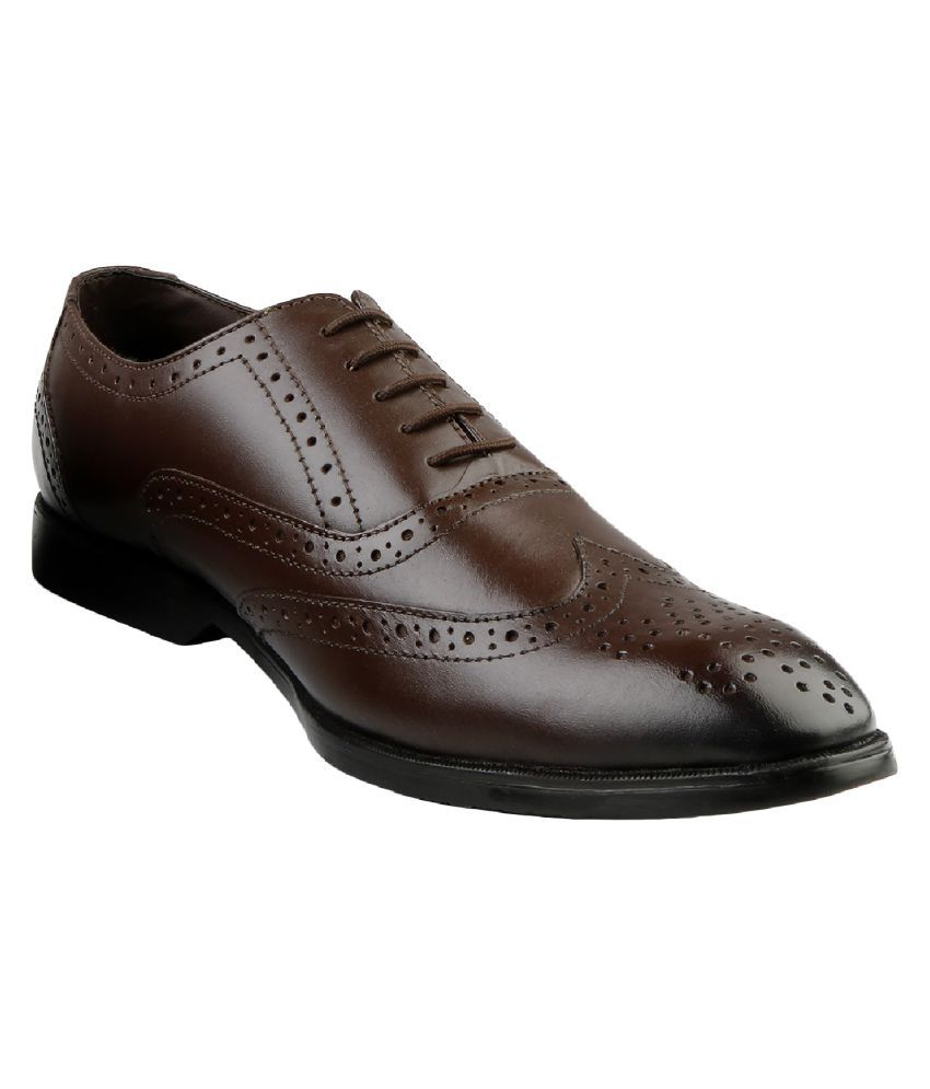Kanprom Brogue Genuine Leather Brown Formal Shoes