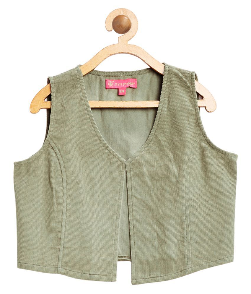 9 Yrs Younger Olive Solid Corduroy Jacket