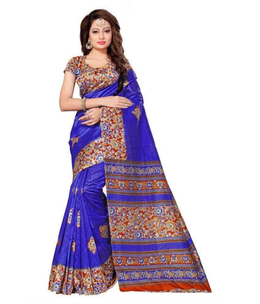 Thankar Blue Art Silk Saree