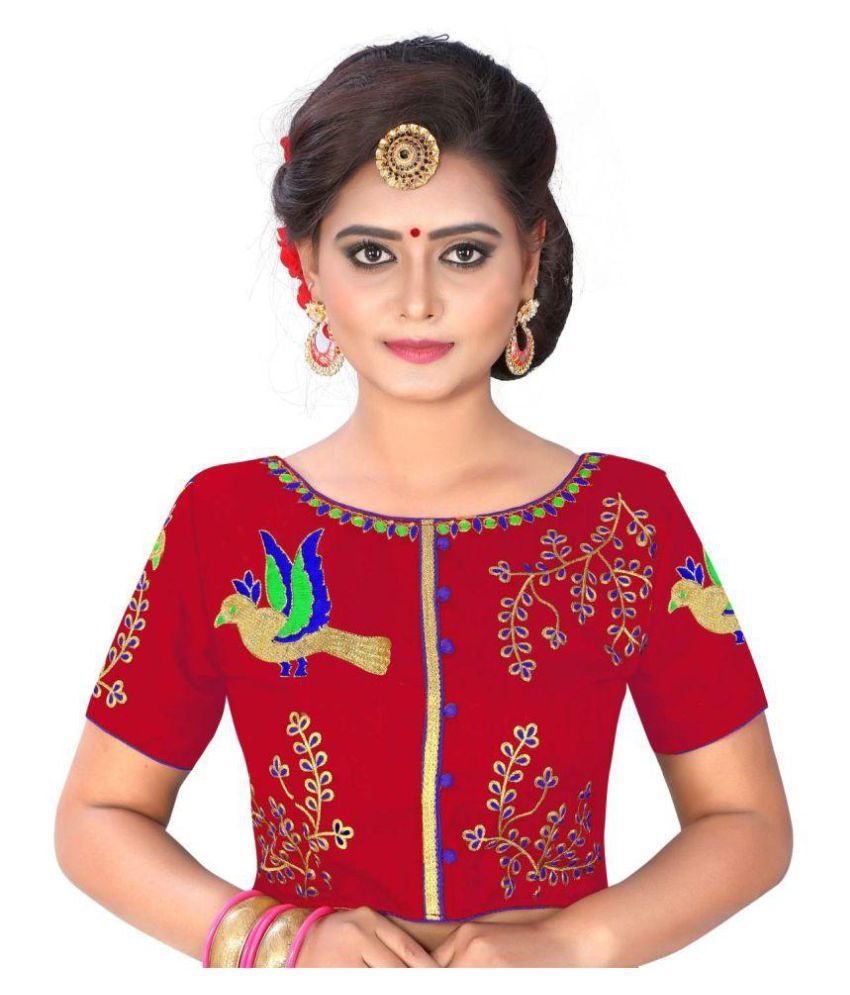 Womens Ethnic Red Cotton Readymade with Pad Blouse