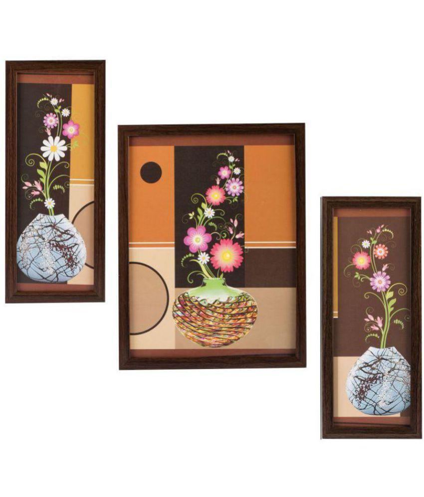 Indianara Floral MDF Painting With Frame