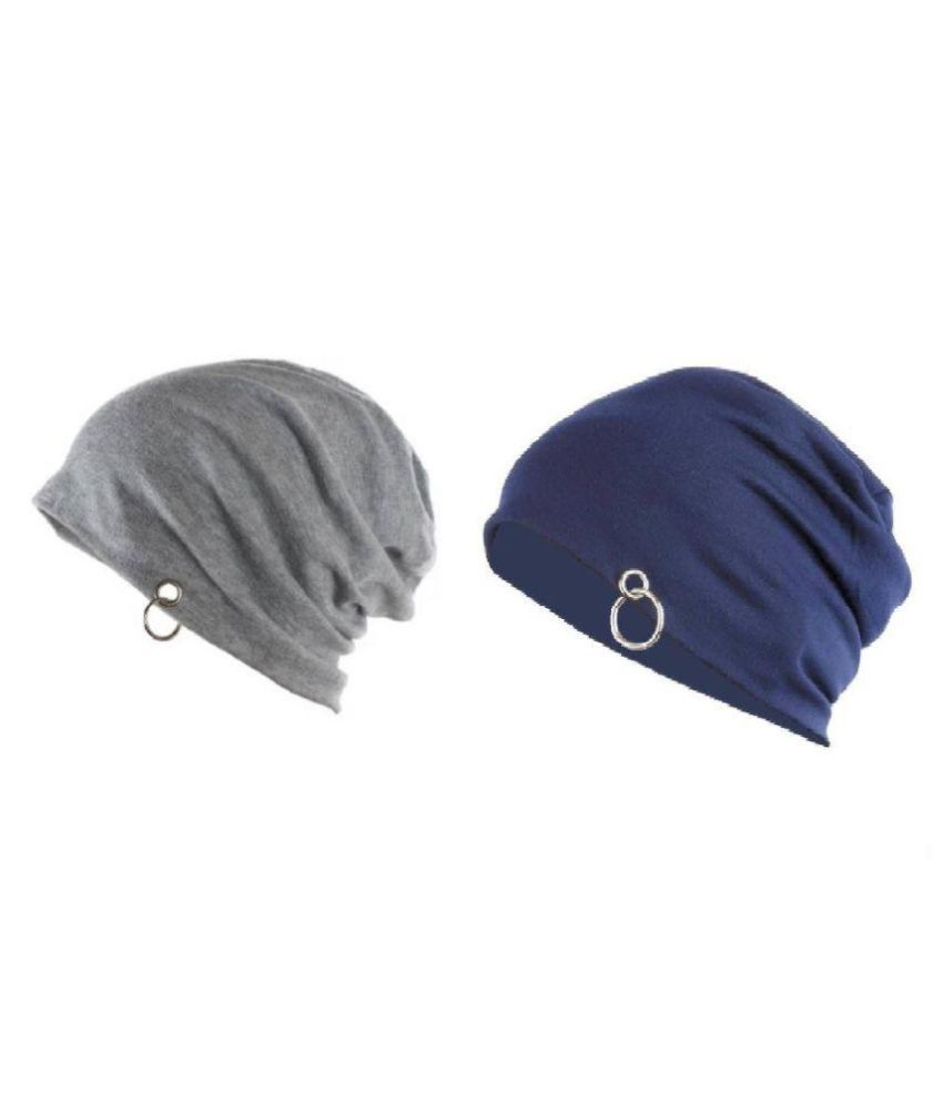 Solid Skull Beanie with ring Cap  Pack of 2