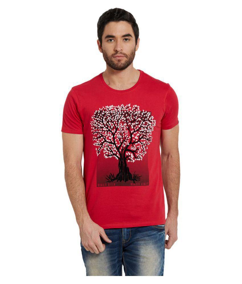 Spykar Red Round T-Shirt Pack of 1