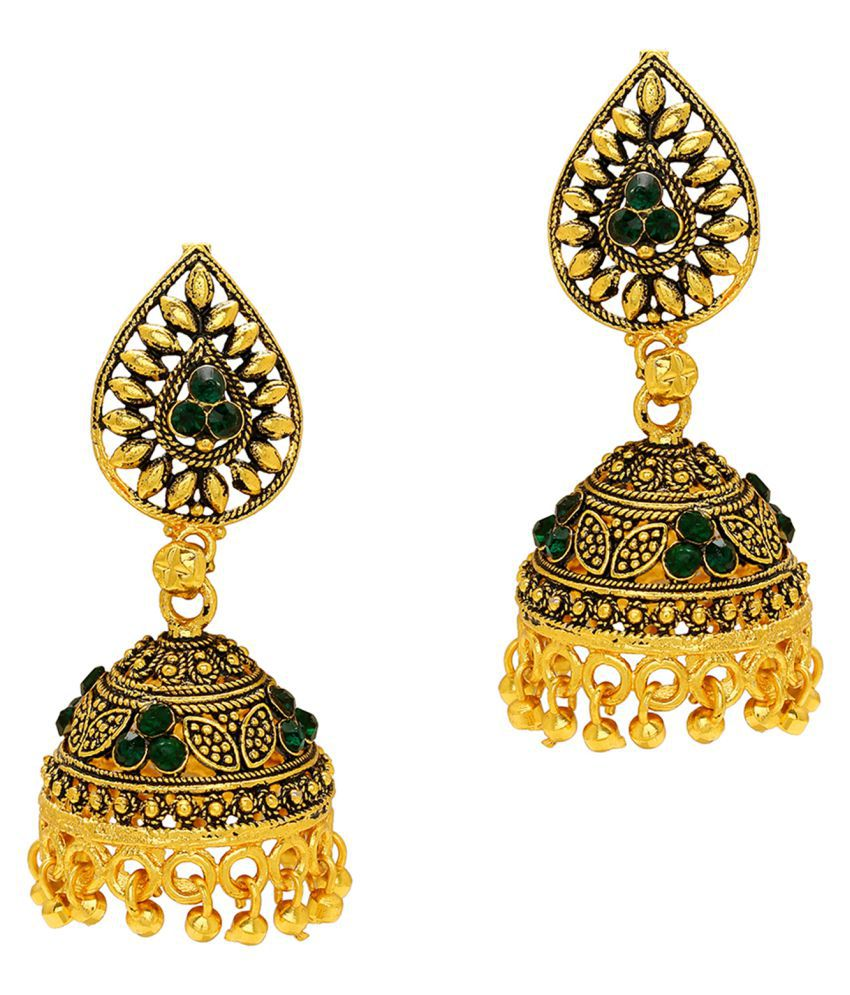 DzineTrendz Gold covered Brass Brass Antique look Green CZ Ethnic Bridal Jhumki earrings for Women girls Traditional