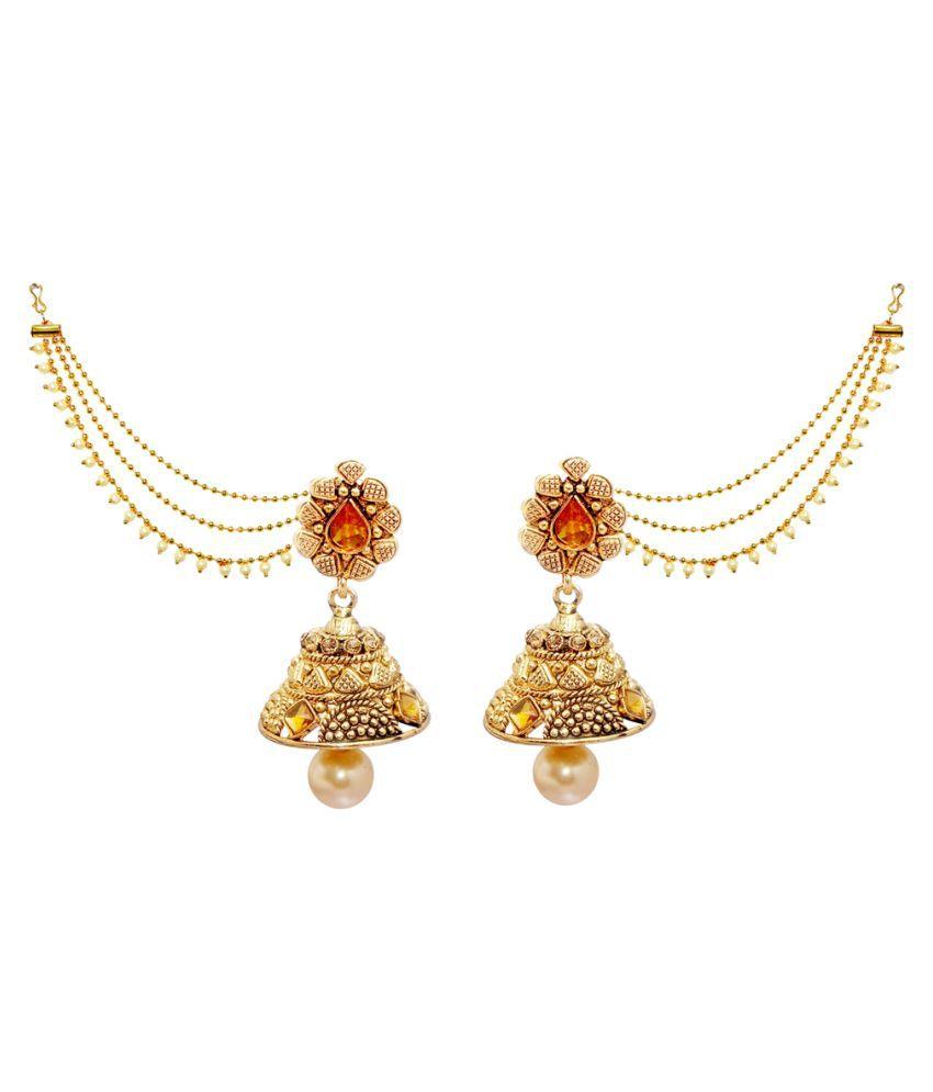 JewelMaze Gold Plated Austrian Stone Jhumki Kan Chain Earrings-AAA2206