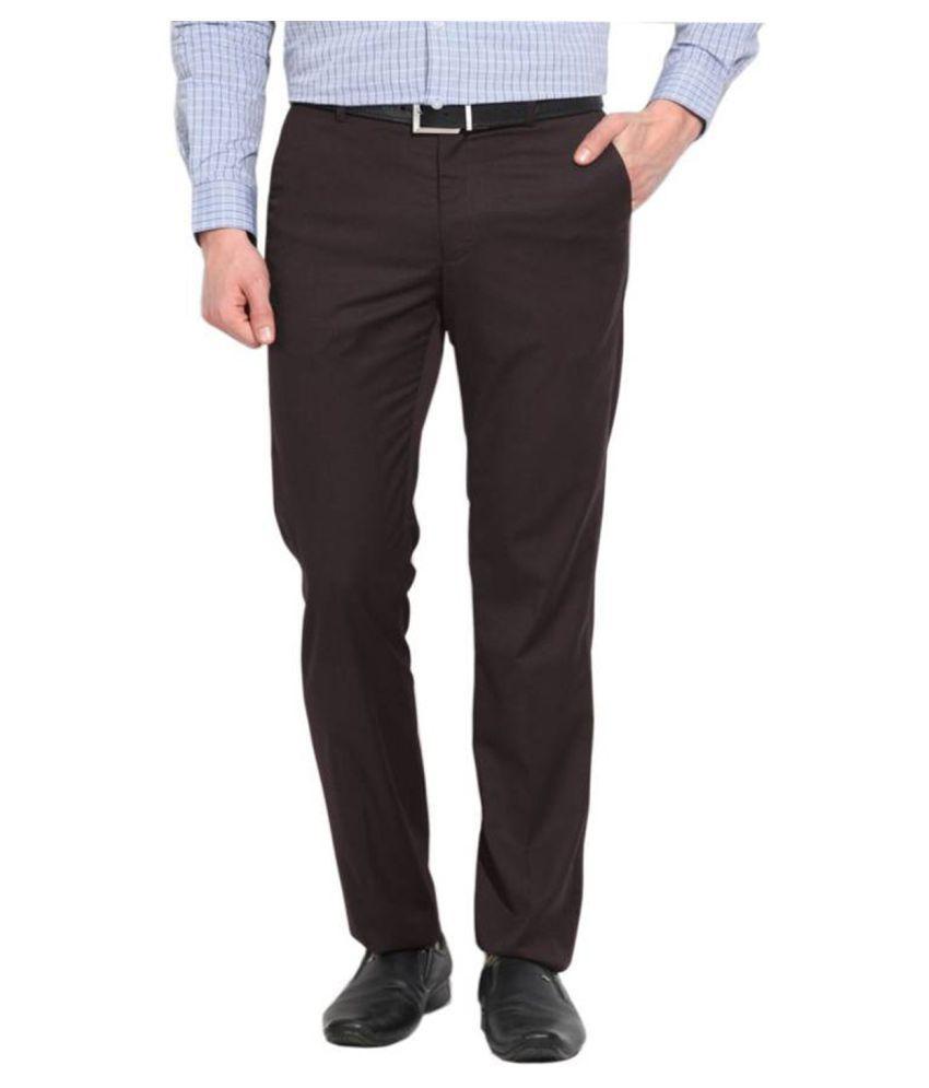 AD & AV Coffee Regular -Fit Flat Trousers
