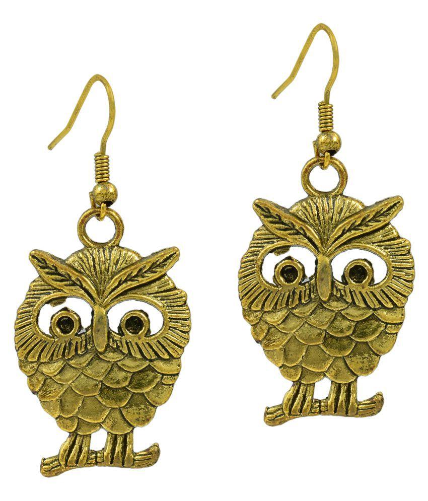 DzineTrendz Antique finish Gold plated Brass Owl shape Fashion earrings for Women and Girls Brass Dangle Earring