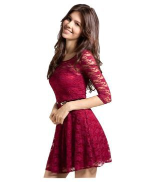 Mira Creation Georgette Maroon Dresses