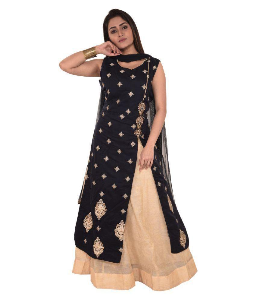 Madona Blue Chanderi Anarkali Stitched Suit