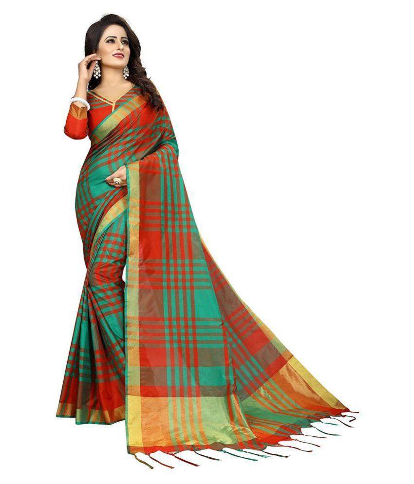 8e99da4f8e THE DESIGN HUB Green and Brown Uppada Silk Saree - Buy THE DESIGN ...